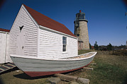 Maine Lighthouses Posters - A Boat, Boathouse And Lighthouse Poster by Clarita Berger