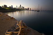 Cleat Prints - a Boat dock and Chicago skyline at dusk Print by Sven Brogren