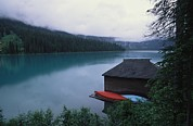 Boathouses Photos - A Boathouse On Emerald Lake In Yoho by Michael Melford