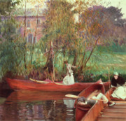 Reflecting Trees Paintings - A Boating Party  by John Singer Sargent