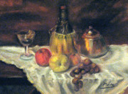 Wine Glass Pastels - A Bottle of Wine by Patricia Seitz