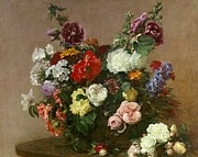 Flower Still Life Framed Prints - A Bouquet of Mixed Flowers Framed Print by Ignace Henri Jean Fantin-Latour