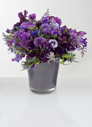 Color Purple Posters - A Bouquet Of Purple Flowers In A Vase Poster by Larry Washburn