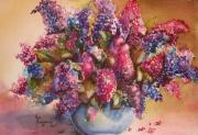 Sokolovich Painting Prints - A Bowl Full of Lilacs Print by Ann Sokolovich