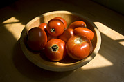 Bowls Framed Prints - A Bowl Of Fresh Tomatoes Framed Print by Joel Sartore