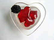 Black Berries Framed Prints - A Bowl of Hearts and a Blackberry Framed Print by Ausra Paulauskaite
