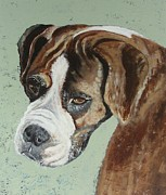 Boxer Painting Framed Prints - A Boxer named Baby Framed Print by Julie Cranfill