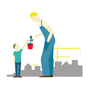 Building Exterior Digital Art - A Boy Giving Tools To A Construction Worker by Bea Crespo