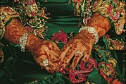 Oman Prints - A Brides Hands Respendent With Jewels Print by James L. Stanfield