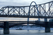 Water St Framed Prints - A Bridge In St. Louis, Missouri At Dusk Framed Print by Joel Sartore