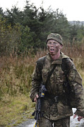 Foot Patrol Photos - A British Soldier During Exercise by Andrew Chittock