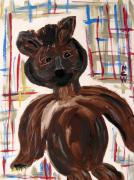 Primitive Drawings - A Brown Bear by Mary Carol Williams