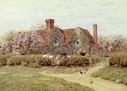 Mother And Daughter Painting Posters - A Buckinghamshire House at Penstreet Poster by Helen Allingham