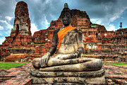 Ayuthaya Prints - A Buddha At The Ayutthaya Ruins Print by Emad Aljumah
