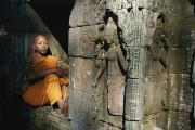 Clergy Photo Metal Prints - A Buddhist Monk Rest In An Alcove Metal Print by Paul Chesley