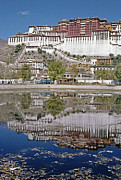 Dalai Lama Framed Prints - A Buddhist Palace Is Reflected Framed Print by Gordon Wiltsie