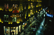 Night Scenes Framed Prints - A Buenos Aires Shopping District Framed Print by Pablo Corral Vega