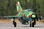 Taxiing Framed Prints - A Bulgarian Air Force Mig-21bis Taxiing Framed Print by Anton Balakchiev