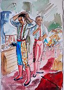Dressing Room Paintings - A Bullfighters Dressing Room by Bill Joseph  Markowski