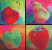 Pear Art Framed Prints - A Bunch of Fruit Framed Print by Deb Magelssen