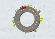 Driving Life Framed Prints - A Bus With Smoke Coming From Exhaust Driving On Street Shaped Like A Circle Framed Print by Jutta Kuss