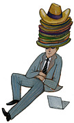 Young Adult Framed Prints - A Businessman Wearing Many Hats Framed Print by David Barneda