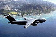 Diamond Head Framed Prints - A C-17 Globemaster Iii Flies Framed Print by Stocktrek Images