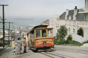 Alcatraz Prints - A Cable Car Stops To Pick Up Passengers Print by J. Baylor Roberts