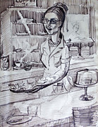 Waitress Drawings Posters - A Cafe Waitress Poster by Bill Joseph  Markowski
