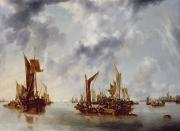 Sailing Ship Painting Prints - A Calm Print by Jan van de Capelle