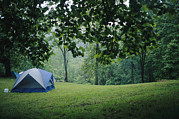 Woodland Scenes Photo Prints - A Campers Tent Pitched In A Woodland Print by Raul Touzon