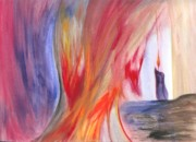 Robert Meszaros Paintings - A Candles Flame by Robert Meszaros