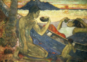Tropical Sunset Prints - A Canoe Print by Paul Gauguin