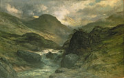 Mountainous Paintings - A Canyon by Gustave Dore