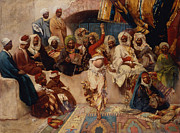 Belly Dancer Paintings - A Captive Audience by Charles Auguste Loye