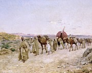 On Silk Paintings - A Caravan near Biskra by PJB Lazerges