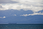 Juan De Fuca Photos - A Cargo Ship Travels In The Juan De by Taylor S. Kennedy