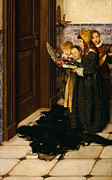 Christmas Cards Prints - A Carol Print by Laura Theresa Alma-Tadema