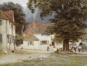 Village Paintings - A Cart by a Village Inn by Helen Allingham