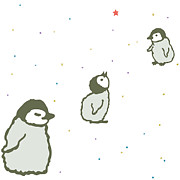 Bonding Digital Art - A Cartoon Drawing Of Three Baby Penguins by Keika Hayashi
