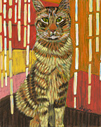 Pet Portraits Paintings - A Cat for Tamar by David  Hearn