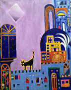 Old Iraqi City Paintings - A Cat In The City by Yahya Batat