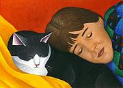 Black-and-white Painting Prints - A Cat is a Furry Pillow Print by Carol Wilson