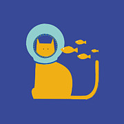 Blue Bowl Posters - A Cat Wearing A Helmet With Fish Swimming Toward It Poster by Bea Crespo