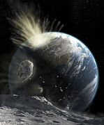 Impact Metal Prints - A Catastrophic Comet Impact On Earth Metal Print by Steven Hobbs