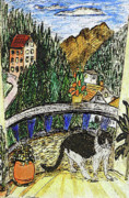 Alps Drawings - A Cats Balcony by Monica Engeler