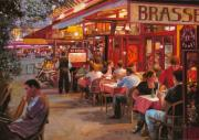 Cafe Scene Paintings - A Cena In Estate by Guido Borelli