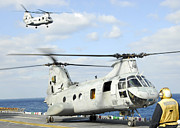 Rotorcraft Prints - A Ch-46e Sea Knight Helicopter Takes Print by Stocktrek Images