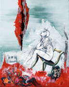 Sad Mixed Media Prints - A Chair for My Heart please - Thank you. Print by Elisabeta Hermann