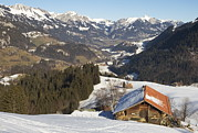 Winter Scenes Photos - A Chalet In The Nieder Simmental Valley by Nicole Duplaix